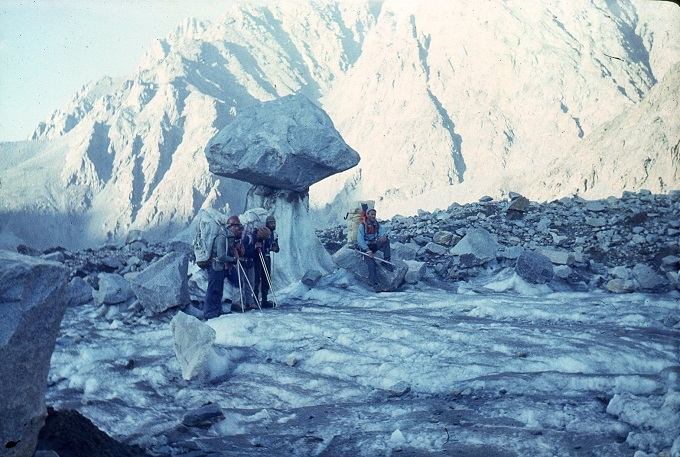 Stone mushroom on a glacier in the Pamir mountains