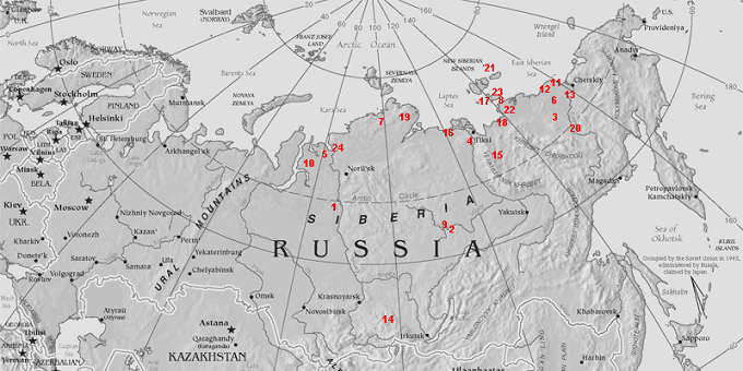 Places of concentration of the remains of mammoths in Siberia